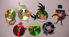 CD Creatures (Recycled CDs, construction paper, and Sharpies) - 7th grade