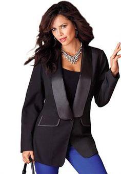 Plus Size Tuxedo Jacket image www.onestopplus.com $69.99