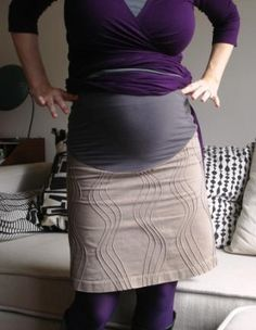 Skirt refashioned into maternity skirt with jersey belly panel, Tutorial