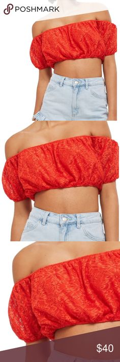 🆕 TOPSHOP Off The Shoulder Lace Crop Top! 🆕 🆕 New with tags! 🆕 Size 12! Topshop Tops Crop Tops