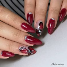 2020 Hottest Nail Design Trend Ideas Page 61 of 135 Inspiration Diary - Nageldesign Hot Nail Designs, Beautiful Nail Designs, Acrylic Nail Designs, Elegant Nails, Classy Nails, Stylish Nails, Red Acrylic Nails, Nagellack Design, Pretty Nail Art