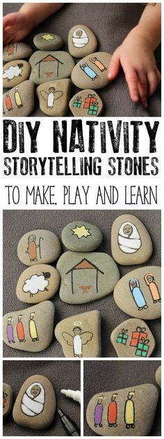 Create your own Nativity Story Stones to help children understand the true meaning of Christmas. These simple stones are easy to make. via @rainydaymum #christmascrafts #crafts #diychristmas #handmadechristmas #christmasdecorations #decorations #rainydaymumcrafts #nativity #nativitystory #christmasstory #adventactivities #adventcrafts #nativitycrafts