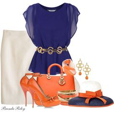 Orange and Blue, created by brendariley-1 on Polyvore