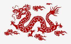 Vectorizado Dragon chino rojo para corte láser - Vector para corte y grabado láser