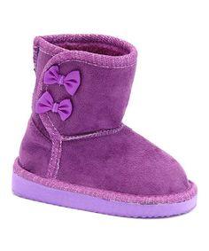 Purple Bow Glitter Boot  zulily  zulilyfinds Glitter Boots 110e1833cd39