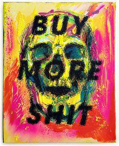 """feel less dead"" /40×50 cm/acrylic on canvas/2017  #consumerism #blackfriday #skull"