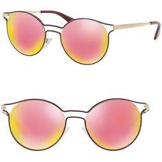 Prada Cinema 53MM Phantos Mirrored Sunglasses (1.235 BRL) ❤ liked on Polyvore featuring accessories, eyewear, sunglasses, apparel & accessories, colorful sunglasses, uv protection sunglasses, mirrored sunglasses, cut out sunglasses and prada sunglasses