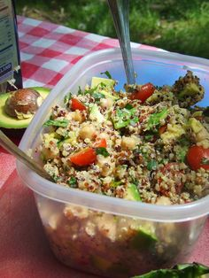 Cilantro-Lemon Quinoa Salad with Avocado and Chickpeas (vegan, gf)