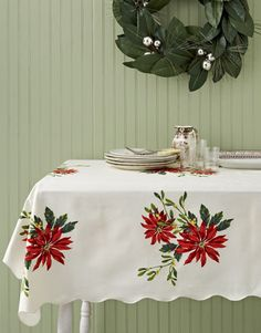"""Collecting Christmas Antiques:   Find out the value of memorabilia from holidays past.Holiday Tablecloths:   When introduced in the 1930s, these so-called lunch cloths enabled Depression-era housewives to enliven their kitchen tables — and family's spirits — for the price of a dollar and change. Hand-screened poinsettias grace this scallop-edged cloth by Wilendure (whose final """"e,"""" added to the company name in 1958, helps set its date).  VALUE = $115.   Photo Credit: Karl Juengel / Studio D"""