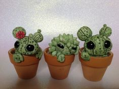Custom Cactus Sculptures Set Of Three Cute Polymer Clay Cacti Creatures Green Big Eyed Potted Plants Desert Life #Claycrafts #Cactus