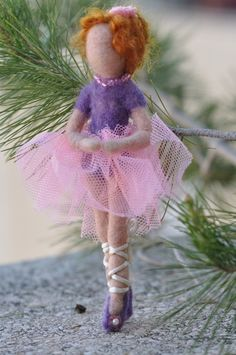 Needle Felted Waldorf Red-haired Ballerina-Needle felted soft sculpture
