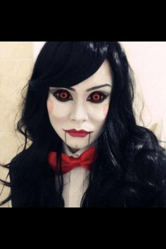 Billy the Puppet genderbent cosplay. It is absolutely unhealthy for me to find this even half as hot as I do. Maquillage Halloween Zombie, Halloween Contacts, Jigsaw Halloween Costume, Le Revenant, Billy The Puppet, Puppet Costume, Josi, Fantasias Halloween, Up Costumes