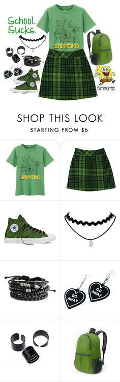 """SCHOOL SUCKS!"" by florymcintee ❤ liked on Polyvore featuring Uniqlo, Anna Sui, Converse and Witch Worldwide"