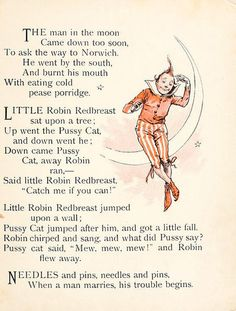 The man in the moon. and other nursery rhymes Nursery Rhymes Poems, Rhymes Songs, Kids Poems, Preschool Poems, Nursery Rymes, Pomes, Rhymes For Kids, Vintage Nursery, Mother Goose