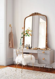 Dressing table and fluffy, sheepskin chair