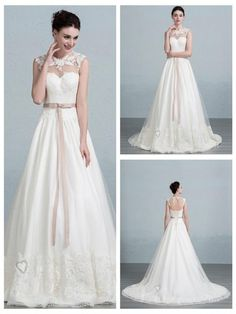 Illusion Neckline Lace Appliques A-line Wedding Dress with Keyhole Back