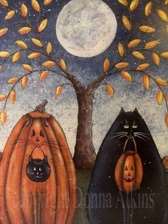 łwAE: cAtS at the Fullmoon by halloween . lol , I must say one of the very few art images with cats that I may like (copy rights Donna Atkins) Via Bill Rigney tks! Retro Halloween, Halloween Chat Noir, Halloween Cat, Holidays Halloween, Halloween Pumpkins, Happy Halloween, Halloween Decorations, Vintage Halloween Images, Halloween Humor