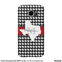 Cute Texas houndstooth phone case; black & white houndstooth pattern made up of Texas state maps. A band of red around the middle adds a pop of color. Personalize with your initial and name on the white Texas state map label in the center. Select CUSTOMIZE to choose this design for many other options of phone or device cases. #TexasProud #Houndstooth #B&W #Texas