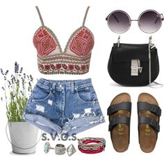 Summer '15 by svgsemma on Polyvore featuring polyvore, Mode, style, Glamorous, Birkenstock, Chloé, Platadepalo, MANGO and Quay