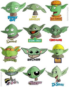 """Dino Tomic's Instagram post: """"Yoda drawn in 12 styles! May the 4th be with you =D This one is also available as a print on my store www.dinotomic.com Had to do this guy…"""""""