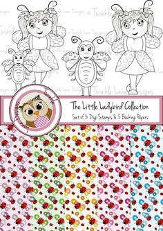 Set of Three Ladybird Digi Stamps and Five Backing Papers, Digital Paper Kit, Patterned Floral Paper, Ladybug, Fancy Dress, Girl Character by TwinkleLaneDesigns on Etsy