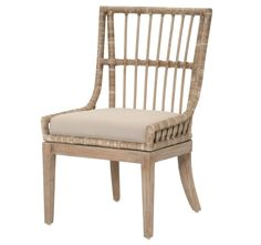 Our Set of Two Santa Barbara Dining Chairs features a pole rattan design and mahogany frame, adding flair to any dining setting. Sold as a PAIR of two chairs. Rattan Dining Chairs, Wicker Sofa, Modern Dining Chairs, Wicker Furniture, Upholstered Dining Chairs, Dining Chair Set, Repurposed Furniture, Furniture Sets, Chair Cushions