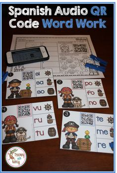 Spanish Initial Syllable Audio QR Code Word Work Stations. These stations are prefect for Daily 5 Rotations.