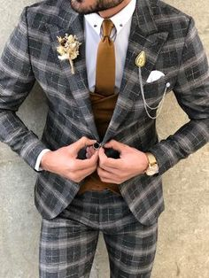 Available Size: Suit Material: viscose, polyester, elestan Machine Washable: No Fitting: Slim-Fit Cutting: Double Slits, Double Button Package Include: Suit Clothes: Jacket and Pants Slim Fit Suits, Plaid Suit, Glen Plaid, Fitted Suit, Vest Jacket, Formal Wear, Olympia, Mens Suits, Mens Fashion