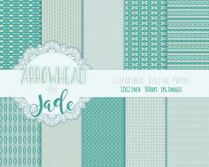 JADE ARROW TRIBAL Digital Paper Pack Commercial Use by ClipArtBrat