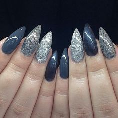 Grey and silver stiletto nails