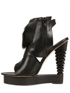 ALAIN QUILICI - 135MM LEATHER AND FUR OPEN TOE WEDGES - LUISAVIAROMA - LUXURY SHOPPING WORLDWIDE SHIPPING - FLORENCE