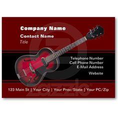 Red HollowBody Guitar Business Card Template
