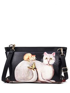 f215f4f791c3 Rivets Cat Printed Colour Block Crossbody Bag Cheap Crossbody Bags