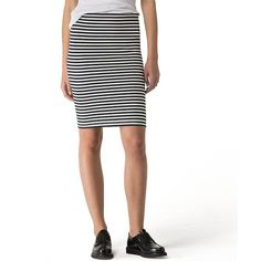 Tommy Hilfiger Hilfiger Denim Stripe Pencil Skirt ($60) ❤ liked on Polyvore featuring skirts, tommy hilfiger, pencil skirt, white skirt, white knee length skirt and white striped skirt
