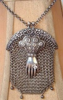 antique hand of grace chatelaine purse assemblage necklace, similar to the one I got from my mother...