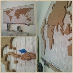 Eine Weltkarte mit Korkkontinenten. So kann man mit Fähnchen die Orte markieren, die man schon bereist hat. Unterhalb ist noch eine Korkleiste an der man noch Fotos zu den jeweiligen Orten pinnen kann :) Günstige Korkplatten findet ihr z.B. hier: Pinnwand...