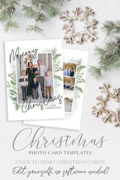 2020 Floral Merry Christmas Card Template Send a Christmas card this season that friends and family will love. This 5x7 Christmas card template is very easy to use! Simply add your photos, edit your names, download and print! #2020christmascard #photochristmasccards #christmascards #christmastemplate #christmascard #christmascardtemplates #photochristmascard #holidaycard #holidayphotocard #christmasprintable Christmas Card Template, Printable Christmas Cards, Merry Christmas Card, Christmas Photo Cards, Holiday Cards, Heart Designs, Card Templates, Floral Watercolor, Your Cards