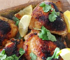 Tandoori Chicken, Spicy, Meat, Ethnic Recipes, Food, Lemon, Cilantro, Essen, Meals