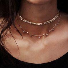 Sparkly Gold Choker Necklace MyBodiArt.com
