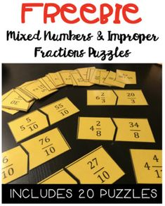 These 20 mixed numbers and improper fractions puzzles are great for math centers, partner activities, and/or fast finishers! I love to print on bright color paper & laminate, for long lasting use! Simplifying Fractions, Improper Fractions, Dividing Fractions, Equivalent Fractions, Fraction Games, Fraction Activities, Grade 6 Math, Fourth Grade Math, Math Tutor
