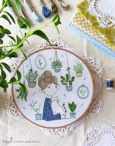 DIY kit, Embroidery hoop art, Embroidery Kit - Hair Bun Girl - Wall art, Modern…