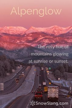 See photos and learn the origin, meaning, and cause of alpenglow, a rosy hue seen on mountains around sunrise and sunset. Snowboarding, Skiing, My Favorite Part, See Photo, Sunrise, Seasons, Mountains, Country, Glow