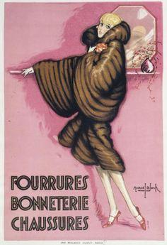 Bloch, Marcel (11–07–1884), dessinateur, 1920-1930 Musee Carnavalet, Art Deco Print, Vintage Fur, Cuddling, Furs, Marcel, Movie Posters, Vintage Posters, Hosiery