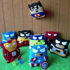 Superhero Pillow Fighters. Dang Superman looks kinda evil there....