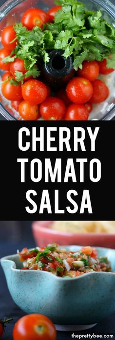 Tomato Salsa This easy cherry tomato salsa is the perfect way to use up your garden tomatoes! This is perfect over chips or tacos.This easy cherry tomato salsa is the perfect way to use up your garden tomatoes! This is perfect over chips or tacos. Canning Cherry Tomatoes, Cherry Tomato Salsa, Tomato Salsa Recipe, Cherry Tomato Recipes, Vegetable Recipes, Salsa Recipe Using Cherry Tomatoes, Tomato Ideas, Tomato Sauce, Mexican Food Recipes