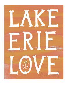 Lake Erie Love Print  Sunset by rachaelnovak on Etsy, $15.00