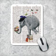 Dictionary Art Mousepad Elephant Mouse Pad by MousePadCenter