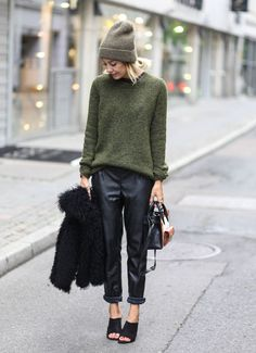 Shop this look on Lookastic:  http://lookastic.com/women/looks/beanie-oversized-sweater-pajama-pants-fur-jacket-crossbody-bag-heeled-sandals/5987  — Brown Beanie  — Olive Oversized Sweater  — Black Leather Pajama Pants  — Black Fur Jacket  — Black Leather Crossbody Bag  — Black Leather Heeled Sandals