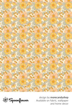 Shop your favorite indie designs on #fabric, #wallpaper and home decor products on Spoonflower, all printed with #eco-friendly inks and handmade in the United States. #patterndesign #textildesign #pattern #digitalprinting #homedecor #70s #Floral #Sunshine #summer Fabric Squares, Fabric Wallpaper, Floral Designs, Watercolor Flowers, Creative Business, Clothing Patterns, Custom Fabric, Spoonflower, Diy Wedding