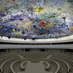 Miquel Barcelo, UN's Palace of Nations in Geneva. The work of art is a massive sculptural installation located on the domed ceiling of the building's newly created Chamber of Human rights.  #art